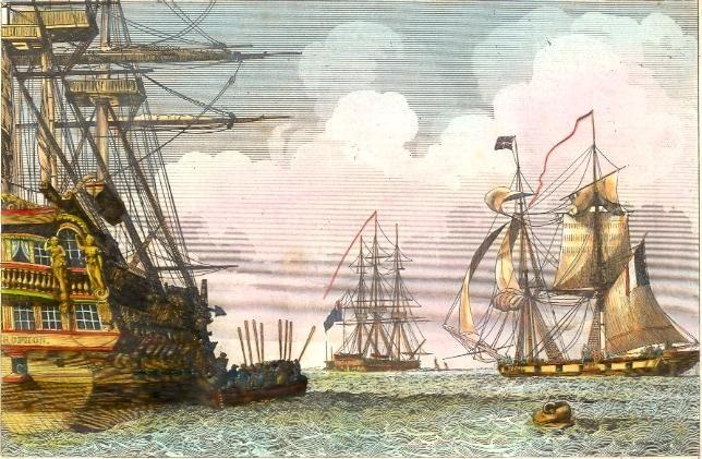 NAPOLÉON & LE BELLÉROPHON, Maritime, Naval, Empire, old print, e