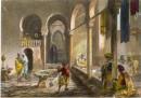 ALGÉRIE : BAINS MAURES À ALGER, Afrique du Nord, gravure ancienn