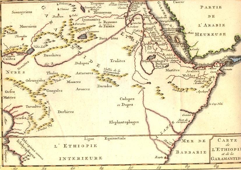 ETHIOPIE & GARAMANTIDE, Afrique, arabie heureuse, carte du 18e s