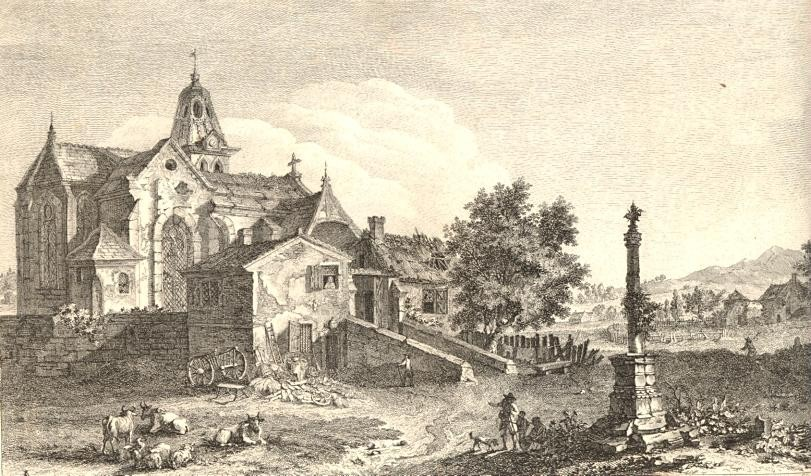 VUE DE L'ÉGLISE ET DU VILLAGE DE ST AUBIN, Engraving 18th, old p