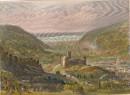 LILLEBONNE, France, Normandy, Turner, engraving, old print, plat