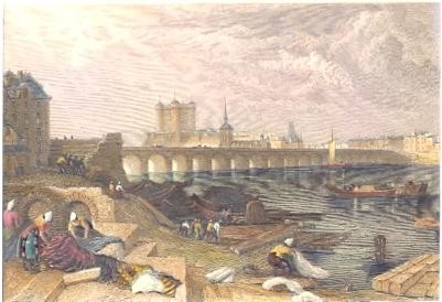 SAUMUR, France, Loire, old print, engraving, plates
