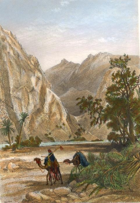 EL-HESOUEH, DANS LE OUADY FEIRAN, Egypt, old print, engraving, p