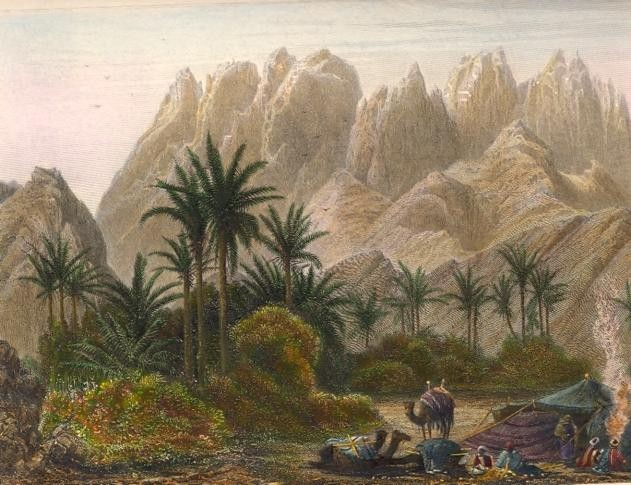 MONT SERBAL, VU DE L'OUADY FEIRAN, Egypt, Sinaï, old print, engr