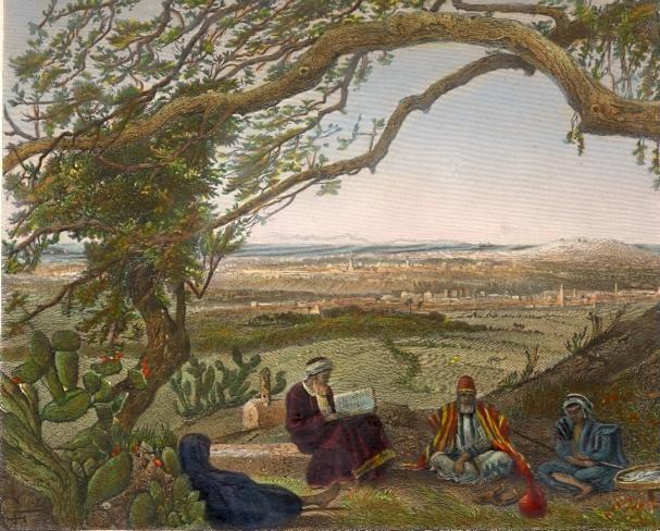 GAZA, Palestina, Palestinia, old print, middle east, engraving,