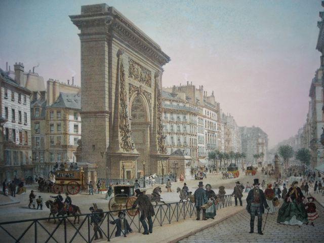 PORTE ET BD ST DENIS, France, lithographe, parigi, lithography,