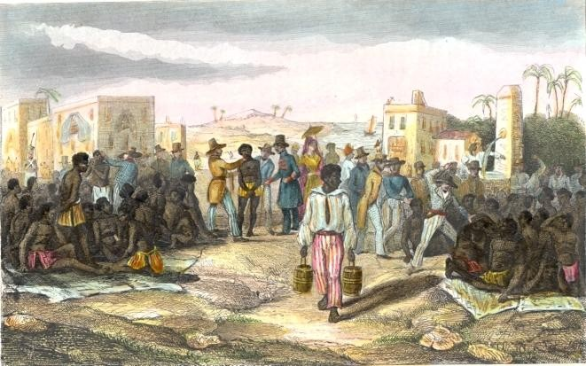LA VENTE DES NÈGRES, Slavery, plates, old print, engraving, 19th