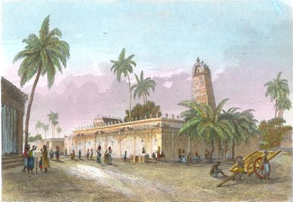 PAGODE À PONDICHERY, India, old print, engraving, plates