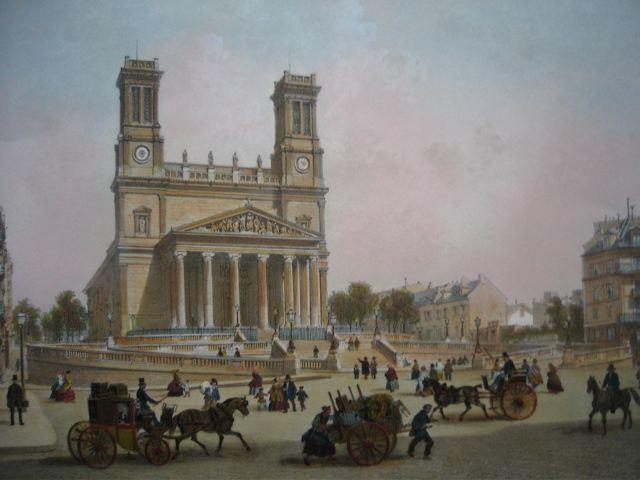 SAINT VINCENT DE PAUL, Francia, parigi, church, lithography, pla