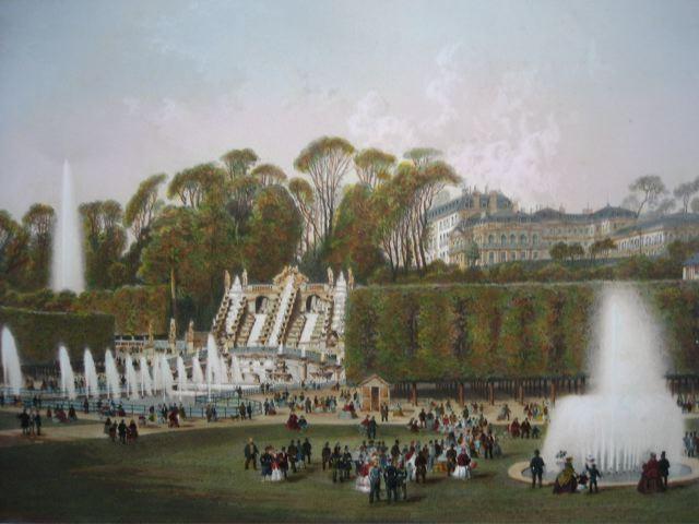 PARC DE ST CLOUD, Francia, parigi, lithography, castle st cloud,