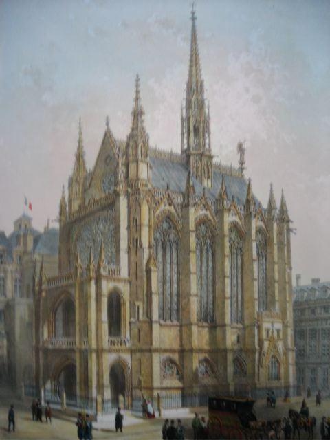 LA SAINTE CHAPELLE, Francia, parigi, lithography, plates, print,