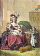 MARIE-ANTOINETTE avec ses trois enfants, Queen of France, engrav