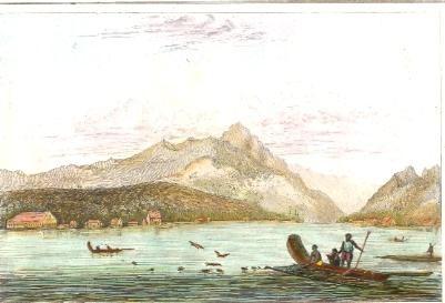 FARI À HOUAHINÉ, Archipelago Taïti, old print, engraving, plates