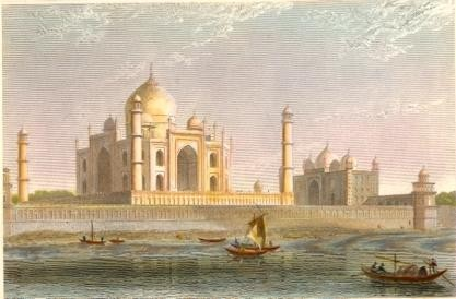 THE TAJE-MAH'L AT AGRA, Asia, india, indien, old print, engravin