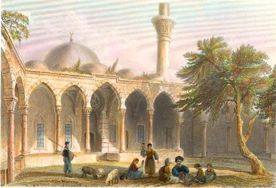 MOSQUE AT PAYASS, THE ANCIENT ISSUS, Turkey, old print, engravin
