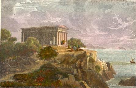 PLATON SUR LE CAP SUNIUM, Greece, old print, engraving, plates