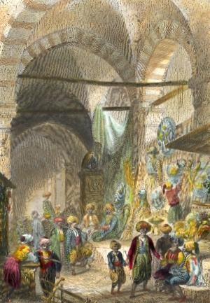 BAZAR DES ARMURIERS, Turkey, Istambul, engraving, plates, print,