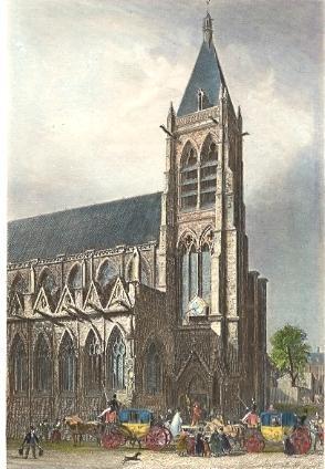 ÉGLISE ST SÉVERIN, France, paris, engraving, church, print, plat