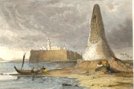 TUNISIEN, DIE SCHAEDEL - PYRAMIDE bei Tebah in africa, engraving