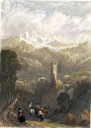 RUINES DU CHÂTEAU DE KLUMM, Vallée de L'Inn, Tyrol, engraving, p