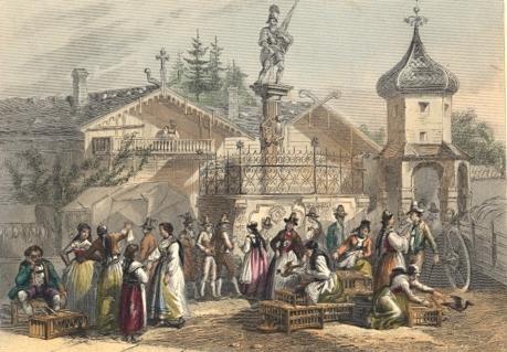 UN MARCHÉ EN TYROL, Austria, osterreich, engraving, plate, print