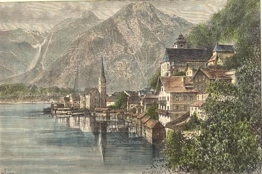 HALLSTATT ET SON LAC, Austria, osterreich, engraving, plate, pri