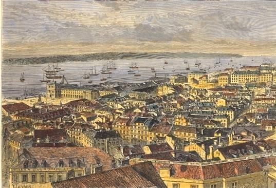 LISBONNE, Lisboa, Lissabon, Lisbon, engraving, plate, print