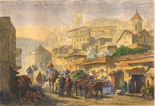 TIFLIS, Asia, Arménia, georgia, engraving, print, plate