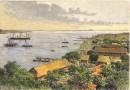 MADAGASCAR : BAIE DE DIEGO SUAREZ, vue prise à Antsirana, gravur