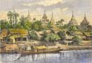BURMA : YENAN-GYOUNG, vue prise de l'Irraouaddi, engraving, plat