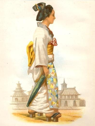 FEMME DE YOKOHAMA, Kostume, Japan, engraving, plate, print