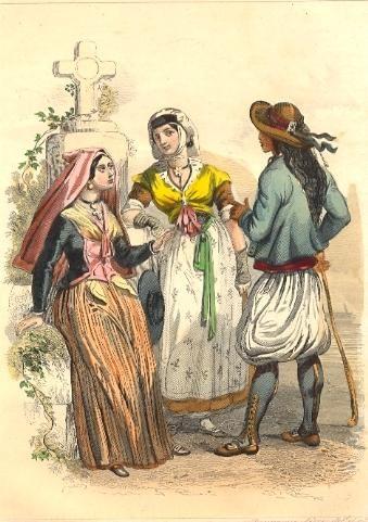 BÉHARNAISE, ARLÉSIENNE, BRETON : French costume, engraving, prin