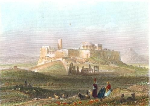 ATHENS FROM THE HILL OF THE MUSEUM, Greece, Greek, engraving, pl
