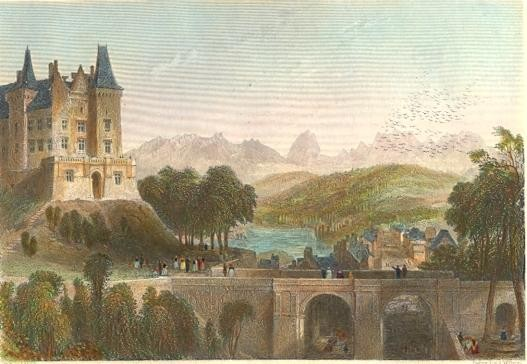 CASTLE OF PAU, THE BRITH PALCE OF HENRI QUATRE, France, engravin