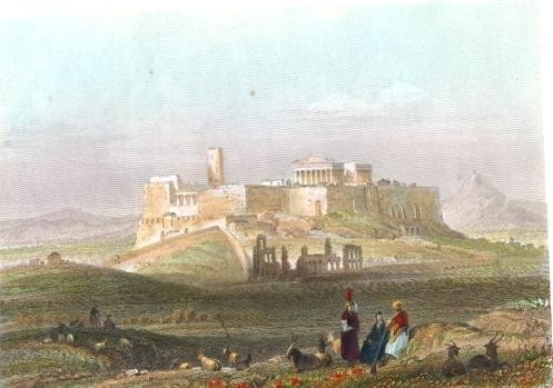 ATHENS, FROM THE HILL OF THE MUSEUM, Greece, engraving, print, p