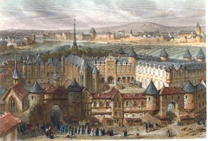 PALAIS DE JUSTICE ET STE CHAPELLE AU XIVe siècle, France, Paris,