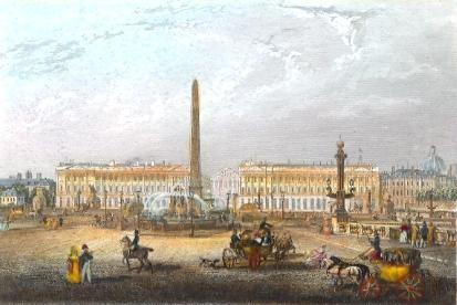 LA PLACE DE LA CONCORDE : Paris, Parigi, Francia, engraving, pla