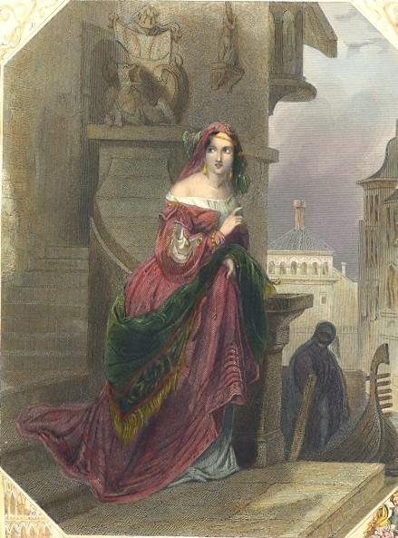 THE ESCAPE, Women portrait, romantique engraving, plate, print,