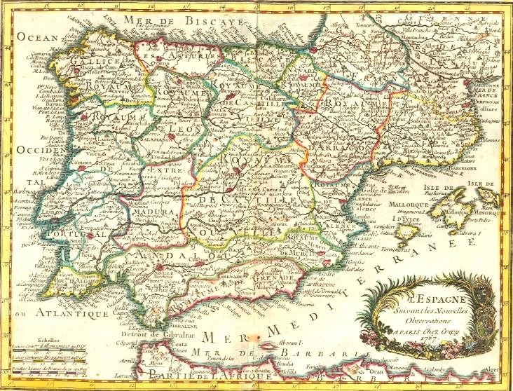 SPAIN, map 18th, spanien, engraving