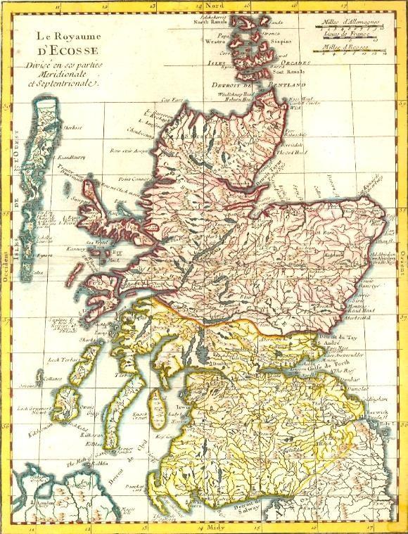L'ECOSSE, carte du 18° siècle, carte, karte,gravure ancienne
