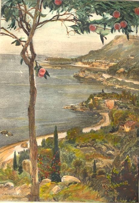 MONTE-CARLO, Monaco, Monte-Carlo, Roquebrune, engraving, plate,