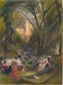 THE BRIDCAGE A scene from Boccaccio, TURNER, engraving, print, p