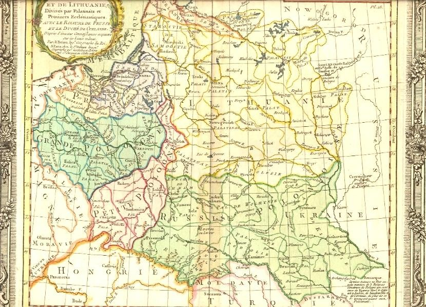 POLAND & LITHUANIEN, DUCHY OF CURLANDER, PRUSSIA, 18th map, old
