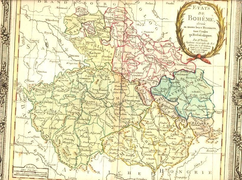 BOHÈME, 18th map, old map, Bohémian