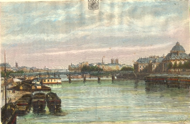 PARIS, LES QUAIS, France, old engraving, print, plate