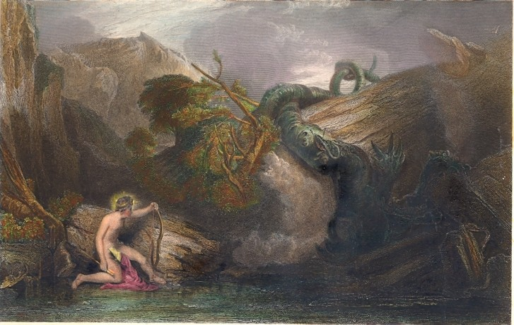 APOLLO KILLING THE PYTHON : Turner, engraving, print, plate
