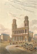 SAINT SULPICE : Paris, église, gravure ancienne, stiche
