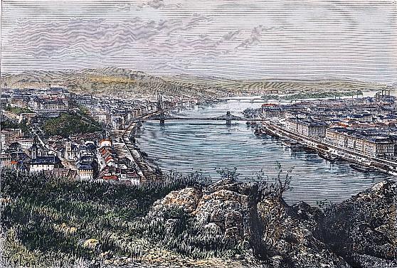 BUDA-PEST, Hungary, ungarn, Buda, Pest, Pesth, engraving, plates