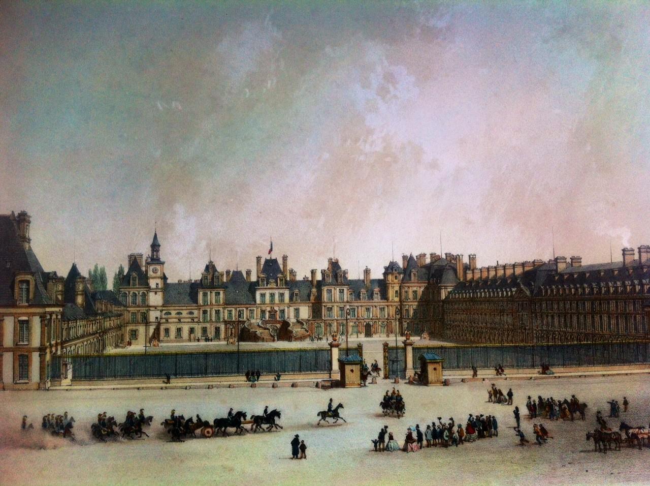 CHATEAU DE FONTAINEBLEAU : France, castles, lithography, engravi