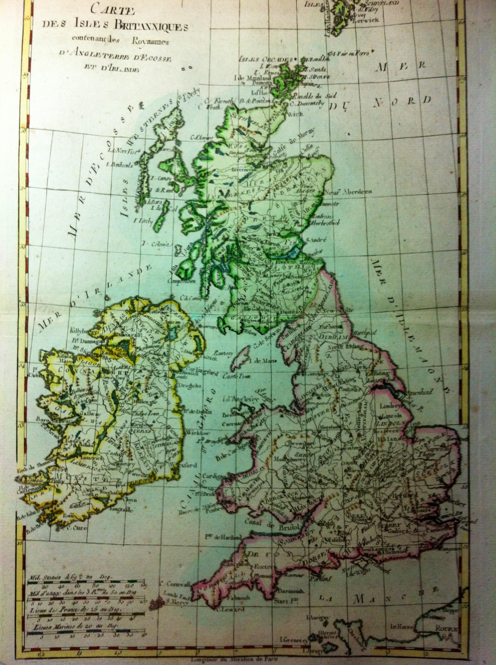 Carte Angleterre Ecosse.Carte Des Isles Britanniques Contenant Les Royaumes D Angleterre D